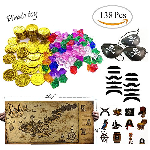 TKOnline 138 piece Pirate Party Supplies and Pirate Favor Toy Bundle( Gold Coins,Pirate Gems, Gemstone Rings,Tattoos, Mustaches, Eye Patches,Maps) - Pirate Themed Party Supplies