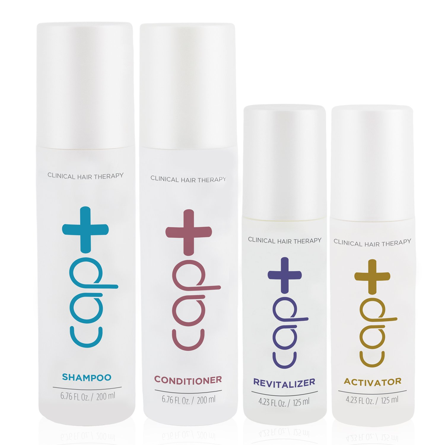 Cap+ Clinical Hair Therapy Bundle (Includes: Shampoo, Conditioner, Activator, and Revitalizer) for use in conjunction with the Capillus low-level light therapy devices