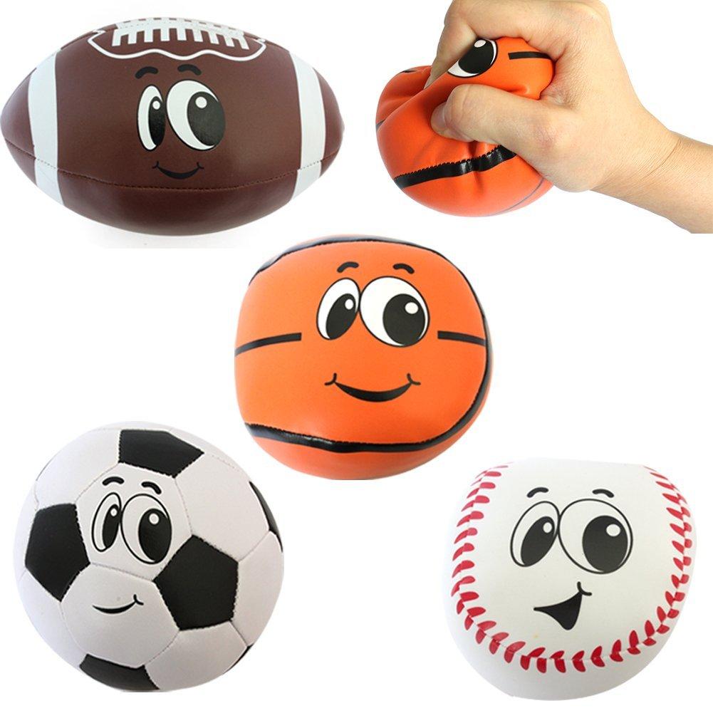 Buyger 4 Stück Cotton Soft Foam Sportbälle Squeeze Stress Bälle Spielzeug Fußball Rugby Basketball Baseball für Kinder
