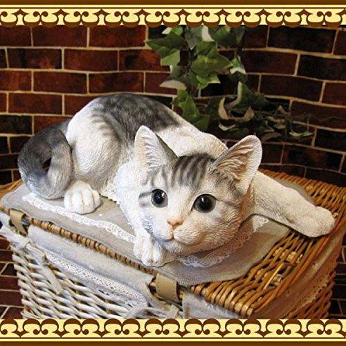 リアルな猫の置物 キャット 伏せ Bタイプ ホワイト&グレー インテリア 壁掛けタイプのオーナメントにも オブジェ ネコ ねこ B078HWG3FN