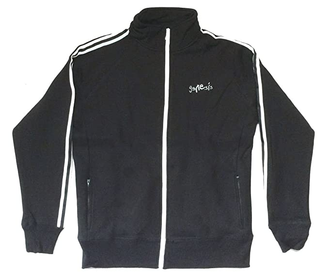 Genesis Embroidered Classic Logo Black Zip Track Jacket Sweatshirt New Official