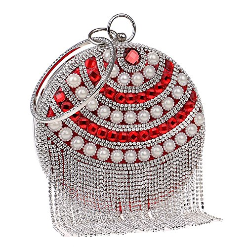 di partito rilievo TUTU Sacchetto donne della giorno della Sacchetto borsa del signora sera delle nappa borse del della borsa della di rotondo in rotondo delle frizione perla della R red delle borse della HrYxrF