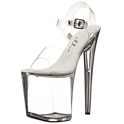798d4d8b73d 8 Inch Clear High Platform Stripper Shoes Womens Exotic High Heel Sandals  Size  6