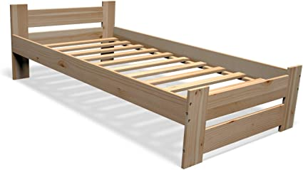 Best For You Cama doble de madera maciza, futón, madera maciza, natural, cama elevada, cama para personas mayores, de madera 100% natural, con ...