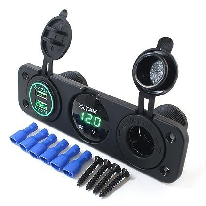 Amazon.com: AOTOMIO - Cargador de coche USB con doble puerto ...