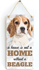 """Meijiafei A House is Not A Home Without A Beagle - Dog Sign/Plaque for Beagle Lovers 10""""x5"""""""