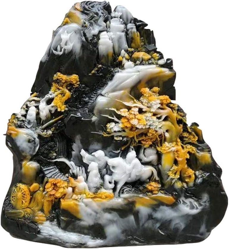 KDMB Gran decoración de Feng Shui, Estatua de Oficina para Montar a Caballo, decoración China de Piedra de Jade Shoushan, para Escultura de hogar y Oficina
