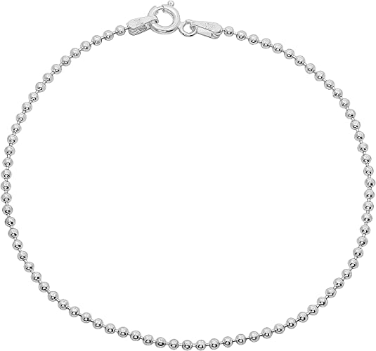 4 pieces Sterling Silver 925 Chain and Round Seamless Beads BEADED ANKLETS Lot