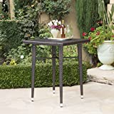 Dom Outdoor 32.5 Inch Square Multibrown Wicker Bar Table