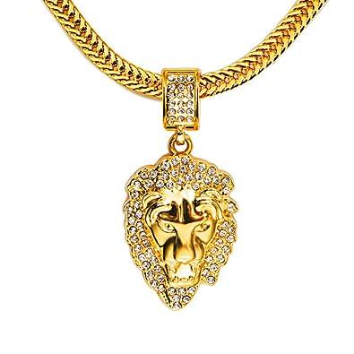TIDOO 18K Gold Plated Lion Head Rhinestones Pendant Hip Hop Chain ... 5634cb2b03ff
