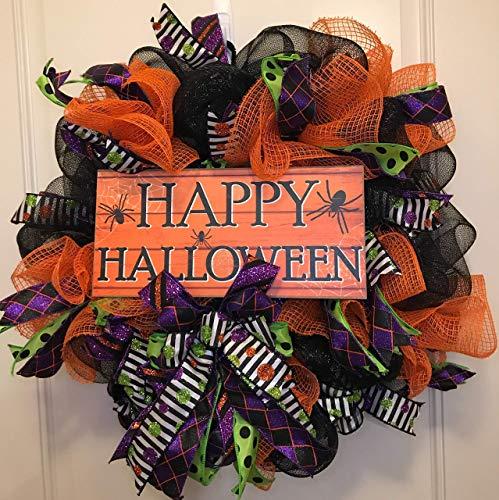 Halloween Wreath | Halloween Door Wreath | Fall Wreath for Front Door | Deco Mesh Wreath | Fall Decor | Black Orange Green Purple -