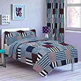 All American Collection New 2pc Printed Modern Bedspread Coverlet Set (Twin Bedspread, Red/Navy Patchwork)