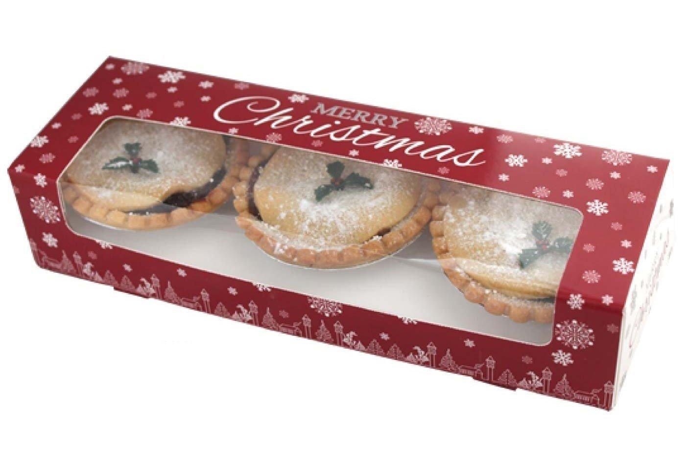 Natale mince pie Boxes Snowflake design double Stack con inserto- Pack 5 The Cake Emporium Ltd