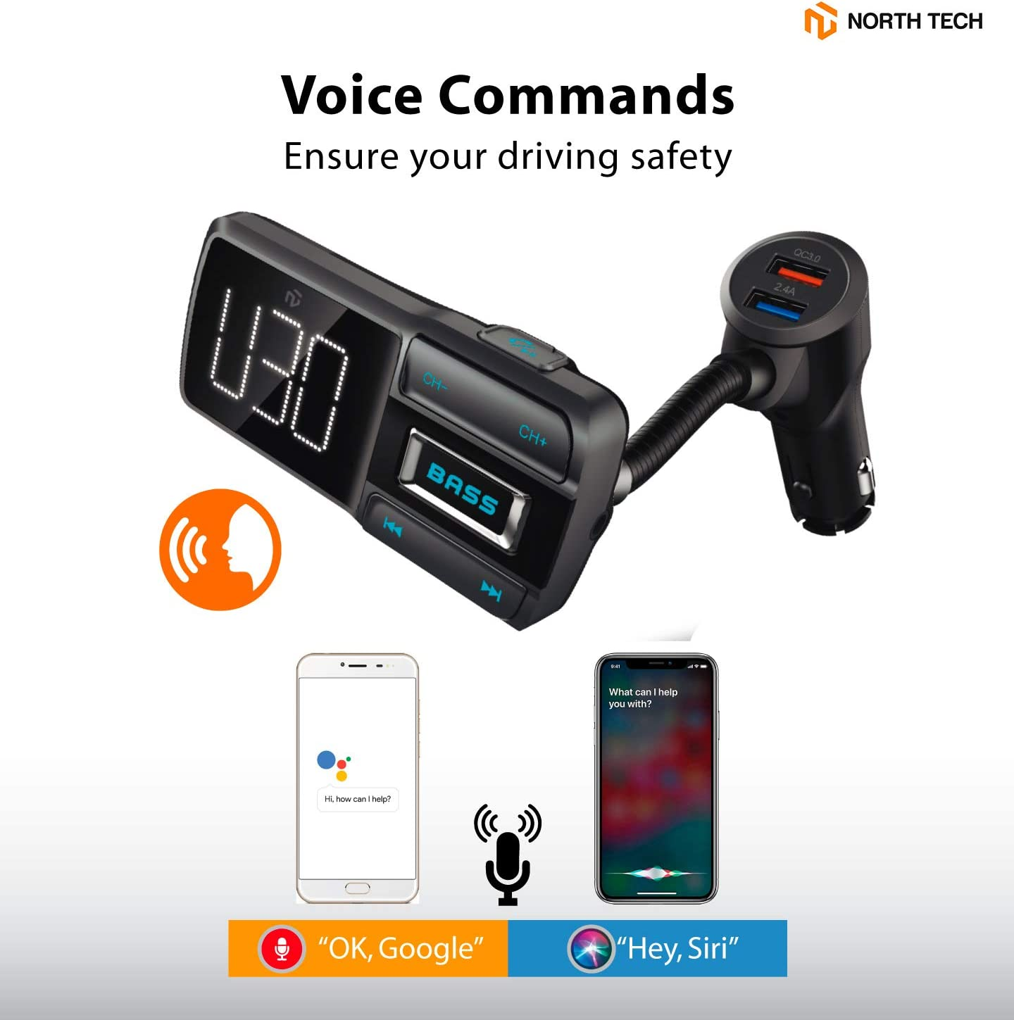 Bass Booster V5.0 Bluetooth Radio Adapter Wireless Music Player Car Kit with Hands-Free Calling 5V//2.4A 1A Dual USB Ports Charger TF//SD Card Support Aux NT North-Tech Bluetooth Car FM Transmitter