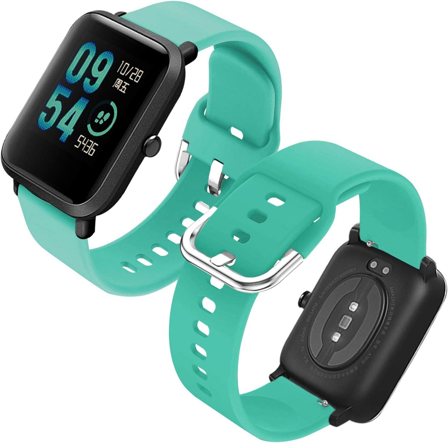 Th-some Correa para Amazfit GTS Impermeable Universal - Reemplazo de Pulsera Ajustable para Xiaomi Huami Amazfit Bip/Amazfit Bip bit Lite Youth/Amazfit GTR 42mm Watch, Sin Tracker (Verde Menta)