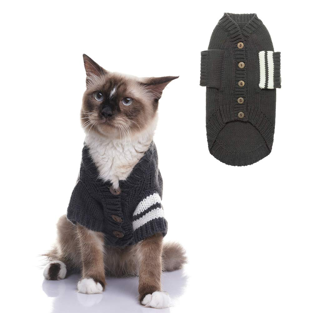 EXPAWLORER Cat Sweater for Cold Weather - Grey Knitted Outerwear Soft Pet Clothes Winter Outfit for Cat, Medium
