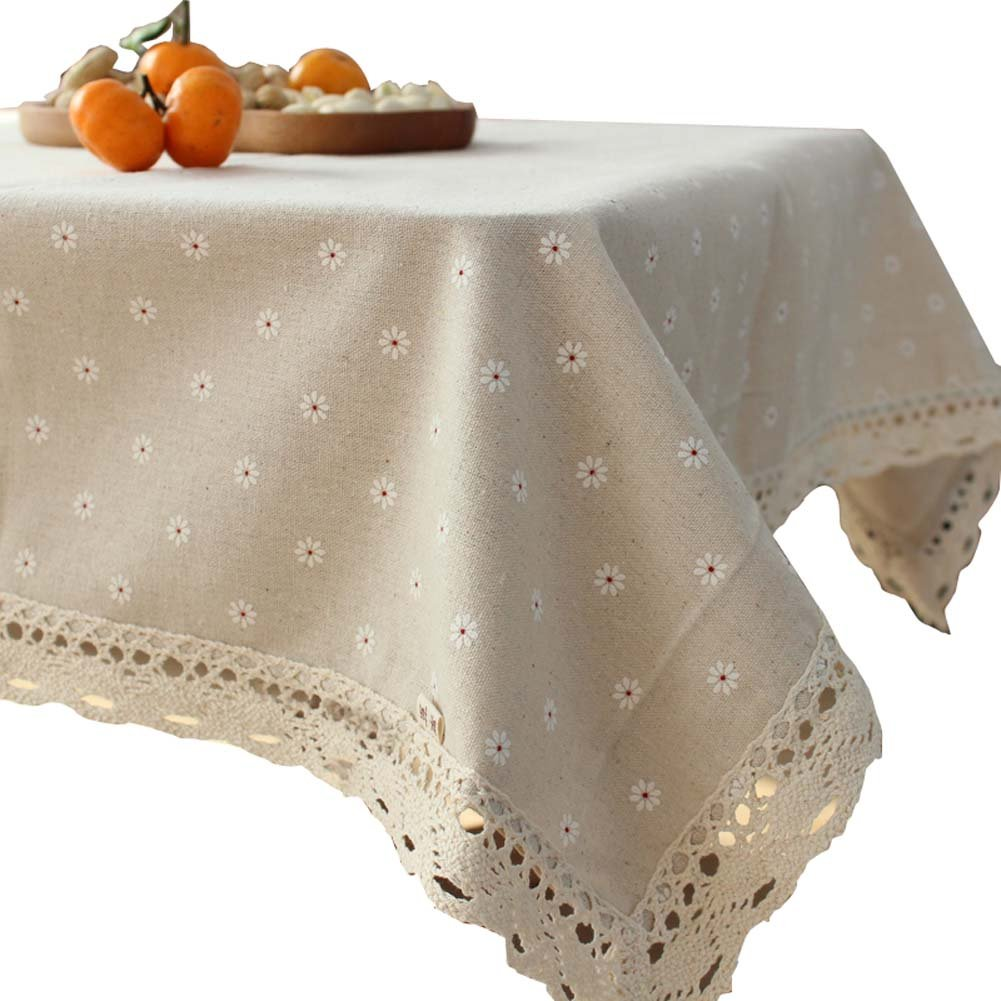Cotton&linen Tablecloth Fashion Dining Table Cover, 90x150cm/35.4x59inch, White Daisy Koala Superstore
