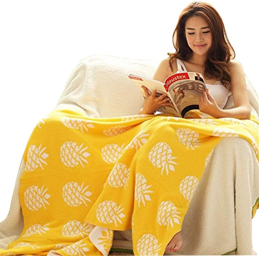 YOUSA Pineapple Blanket Yellow Knitted Throw Blanket 35''43''
