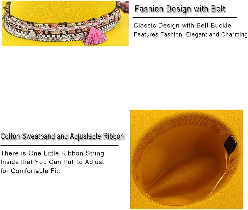 Womens Felt Fedora Hat Wide Brim Panama Hats with Tassel