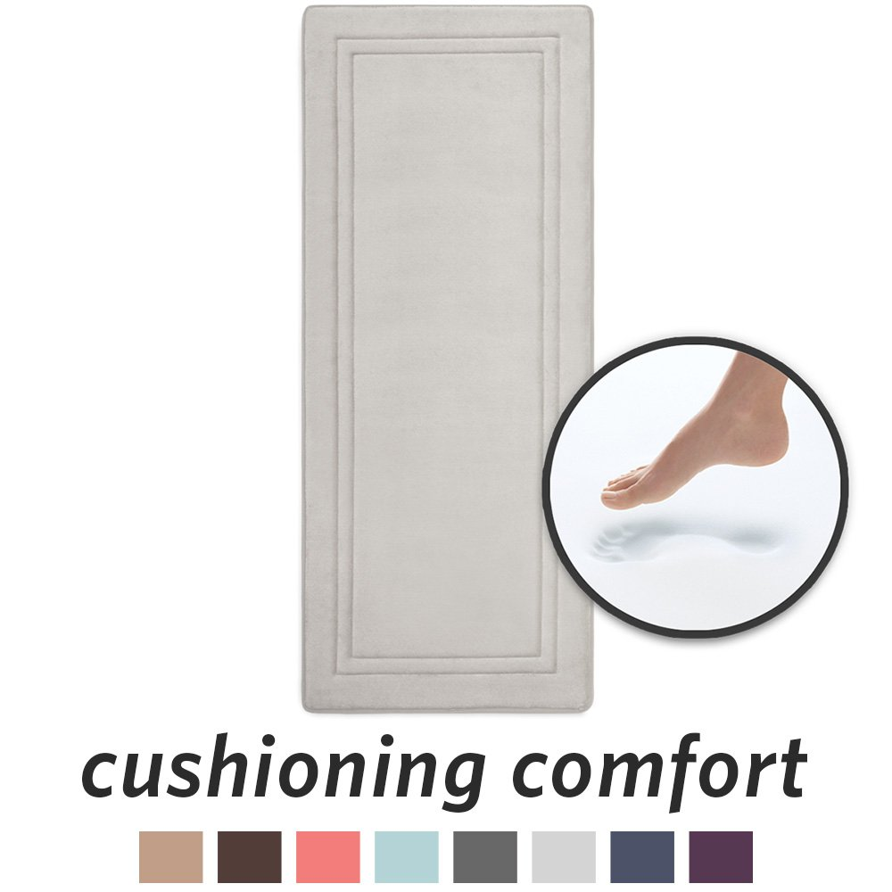 MICRODRY Quick Drying Memory Foam Framed Bath Mat Runner with GripTex Skid Resistant Base   24''x 58''   Chrome