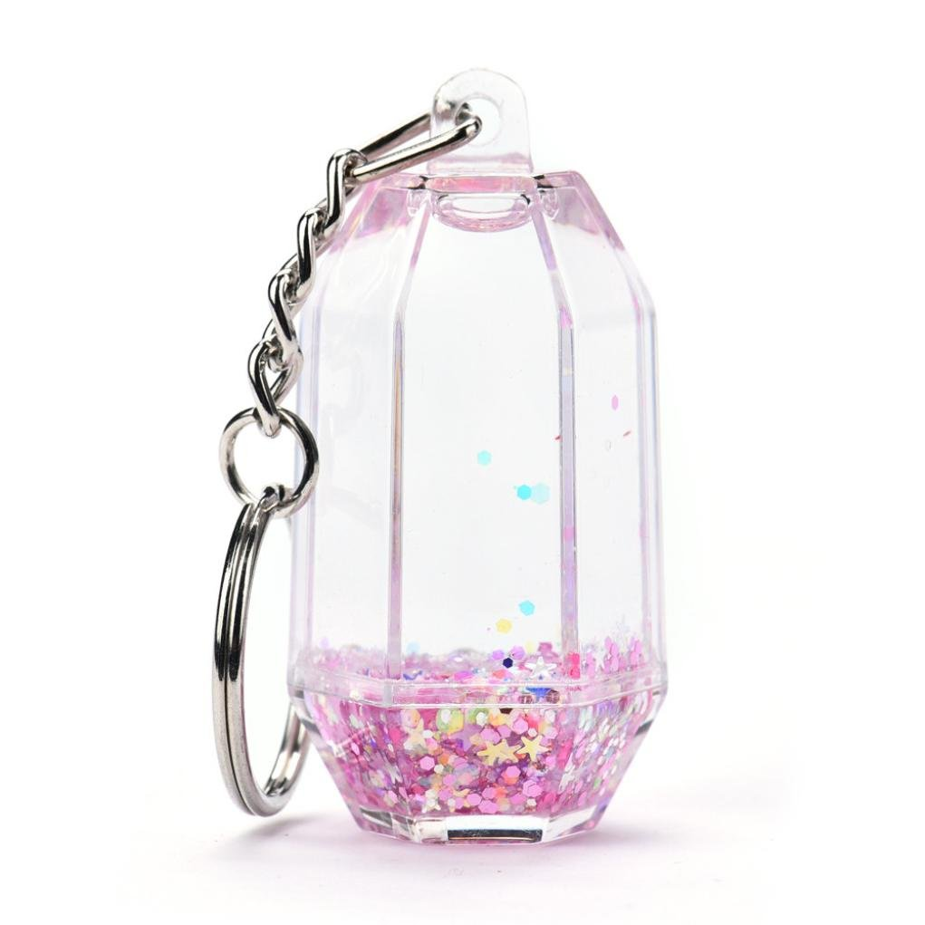Hot Sale! Sunfei Keychain,Glitter Powder Quicksand Star Key Ring Mini Filled Bottle Keychain (C)