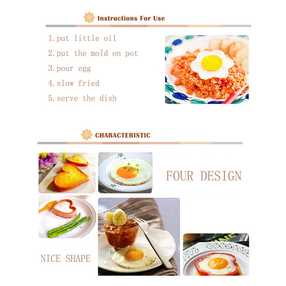 3.5-3.75 Star and Plum Flower Shapes for Kitchen Cooking Heart Star and Plum Flower Shapes for Kitchen Cooking 3.5-3.75 Circle HUANGYIFU Stainless Steel Egg Fried Molds 4 Piece Fried Eggs Rings with Convenient Handles