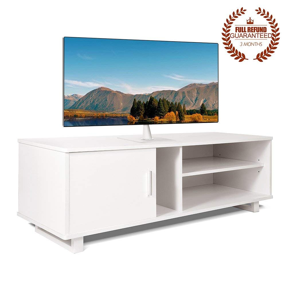 Ej. Life Wooden TV Stand,TV Unit Storage Console,TV Cabinet with two Shelves,for Living Room,Bedroom,White