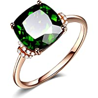 18K Rose Gold Plating Luxury Square Green Simulated Emerald Women's Ring Vintage Cubic Zirconia CZ Wedding Engagement…