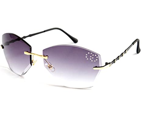 bdd47f74dac VOLCHIEN Frameless Rhinestone Geometric Metal Female Sunglasses Cheap UV  Protection Double Circle Crystal Style Grey Lens Black Arm VC1014  Amazon.co .uk  ...