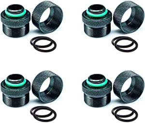Votono 4-Pack G1/4'' OD 14mm PETG Hard Tube Fitting PC Water Cooling Fittings External Thread (Black)