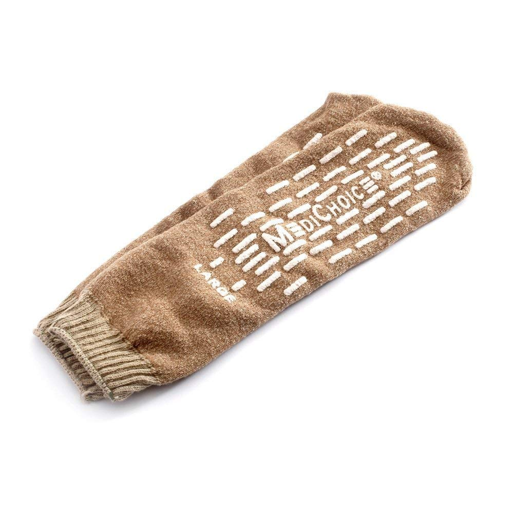 4 Pairs Single Tread Slipper Sock Large Beige- Medichoice Socks Used in Hospitals Nationwide for Fall Management by MediChoice