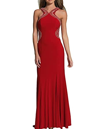 WANNISHA Womens Backless Formal Evening Dresses Long Red