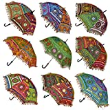 Sun Protection Rajasthani Umbrella Handicraft Walking Stick Umbrella 10 Pcs