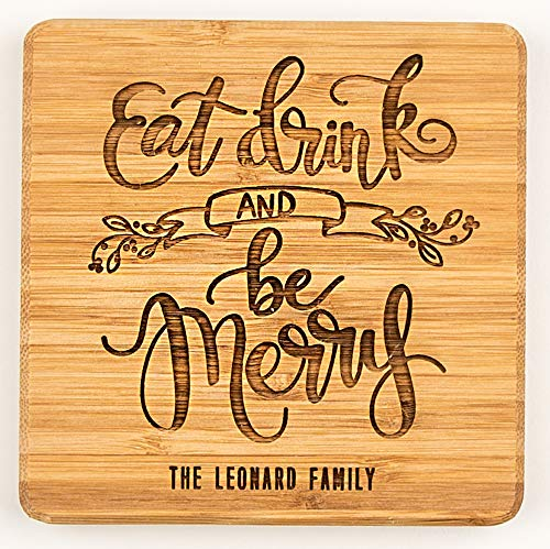 Personalized Christmas Wooden Drink Coasters - Unique Kitchen Christmas Gifts for Couples and Family (1 Coaster, Eat, Drink, and Be Merry ()