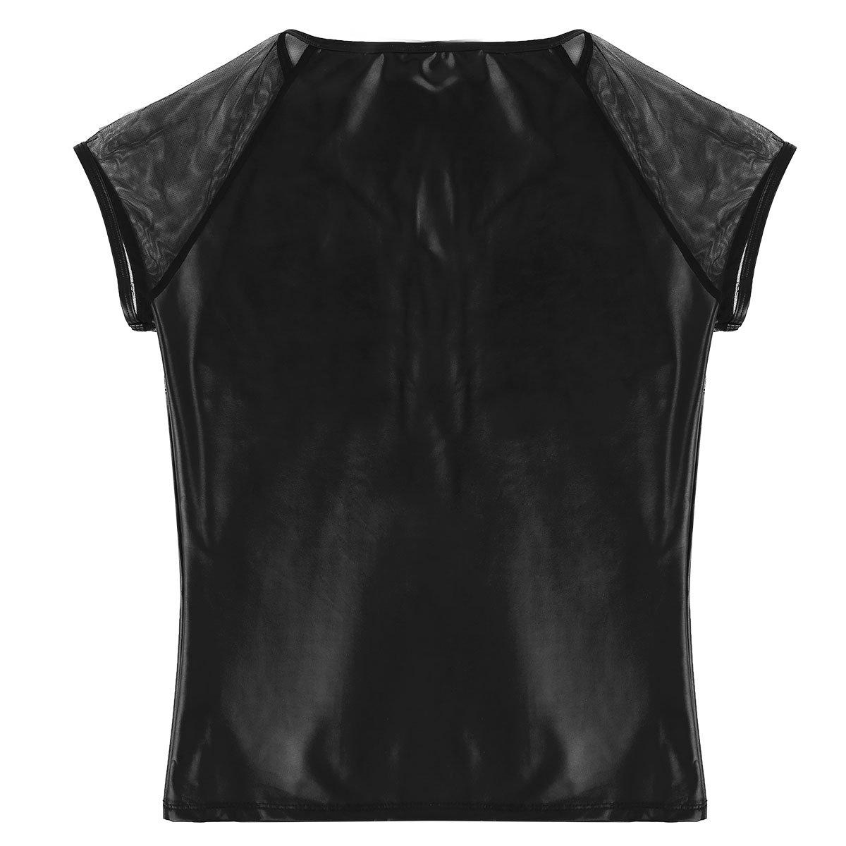 Agoky Sexy Herren T-Shirt Slim Fit V-Ausschnitt Tee Kurzarm Unterhemd Lack  Leder Shirt Glänzend Männer Wetlook Clubwear M-XXL  Amazon.de  Bekleidung 4cf2c06226