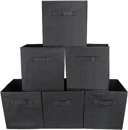EZOWare Organizador, Caja de Almacenaje con 6 pcs, Set de 6 Cajas de Juguetes, Caja de Tela para Almacenaje, Negra: Amazon.es: Hogar
