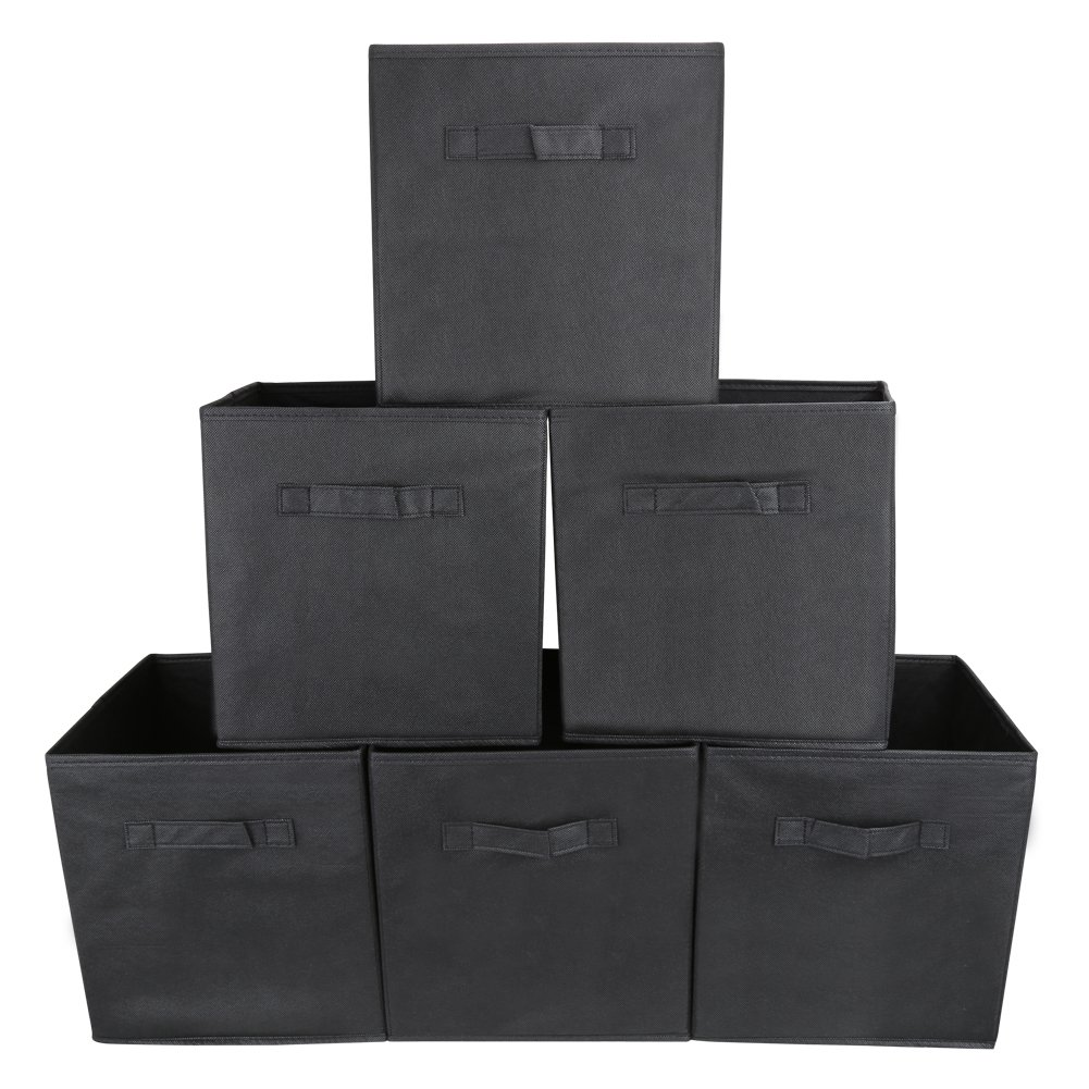 EZOWare Set of 6 Foldable Fabric Basket Bin Collapsible Storage Cube for Nursery Home and Office - Black