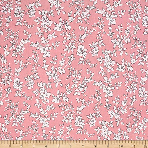 Telio Playtime Cotton Poplin Floral Fabric, Pink, Fabric By The Yard