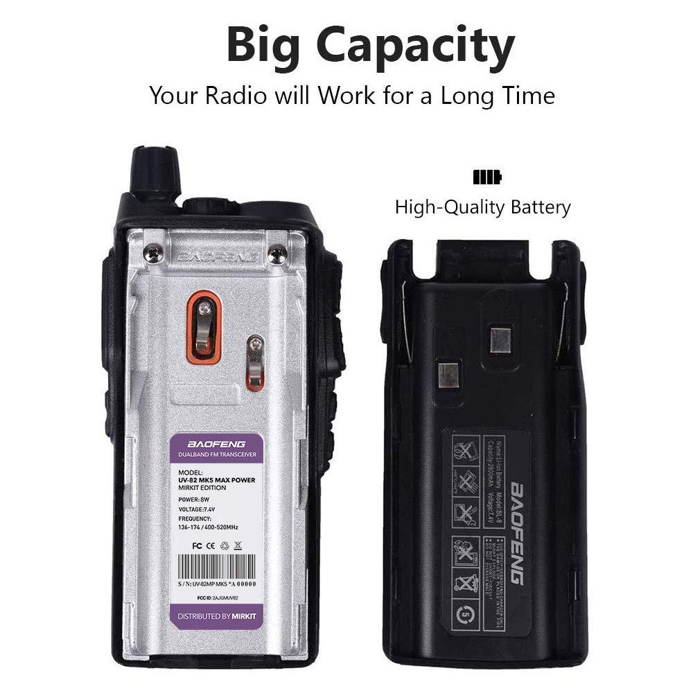 Pack 2Pc Mirkit BAOFENG Radio UV-82 MK5 8 Watt MP Max Power UHV VHF Dual Band Two Way Radio with Programming Cable PL2303