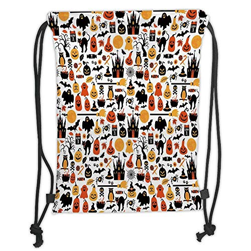 (New Fashion Gym Drawstring Backpacks Bags,Halloween,Halloween Icons Collection Candies Owls Castles Ghosts October 31 Theme Decorative,Orange Yellow Black Soft Satin,Adjustable)