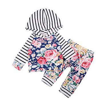 12b9793e daffodilblob Women Stylish Hoodie, Newborn Baby Toddler Girl Casual Floral Striped  Hoodie Pants Clothes Set