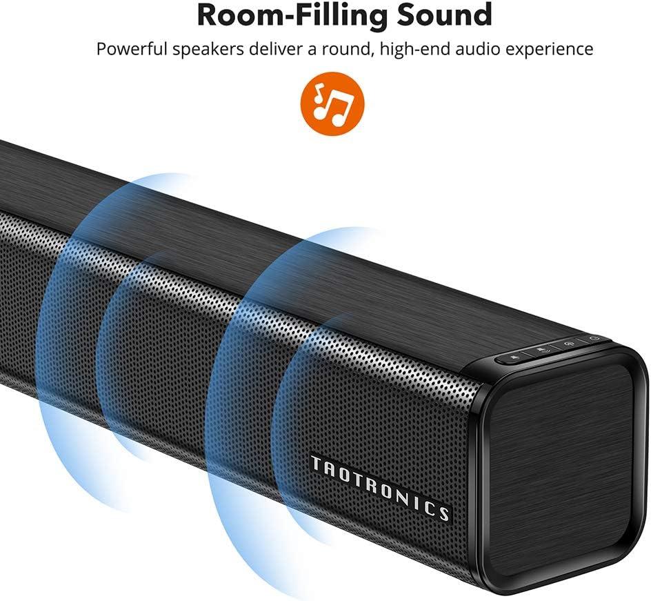 Soundbar, TaoTronics Three Equalizer Mode Audio Speaker for TV, 32-Inch Wired & Wireless Bluetooth 5.0 Stereo Soundbar, Optical/Aux/RCA Connection