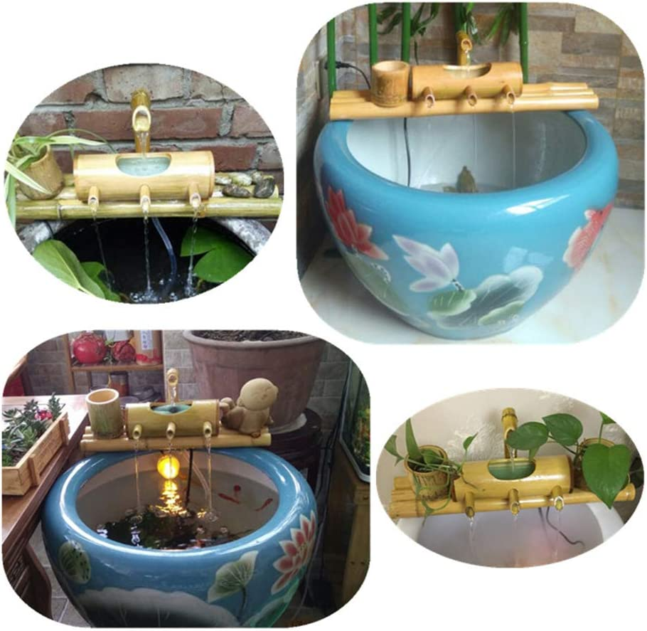 Aquarium wang JESS Home Fountain Pump Fish Tank Circulation Three-Arm Style Base Bamboo Tube Mini Desktop Decoration for Indoor//Outdoor Office Home
