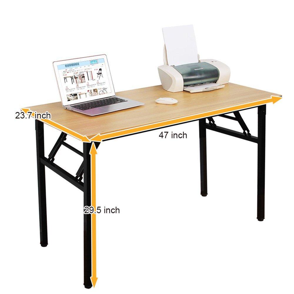 Need VD-56138HW Office Desk 47 Folding Computer Table Workstation No Install, Teak, Teak Black