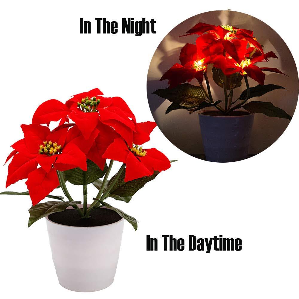PSFS LED Solar Energy Saving Red Christmas Flowers Lights, Artificial Christmas Flower Bonsai LED Lamp (1, A)