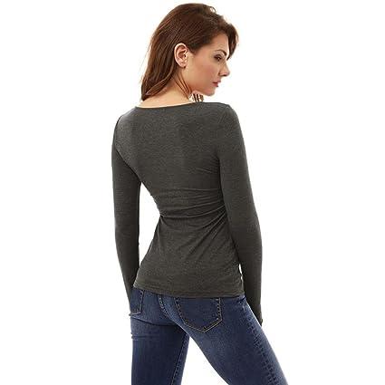... manga larga básica inferior camiseta tops suéter chaqueta sudadera blusa camisa mono vestido pijamas traje ropa (S, Gris): Amazon.es: Ropa y accesorios