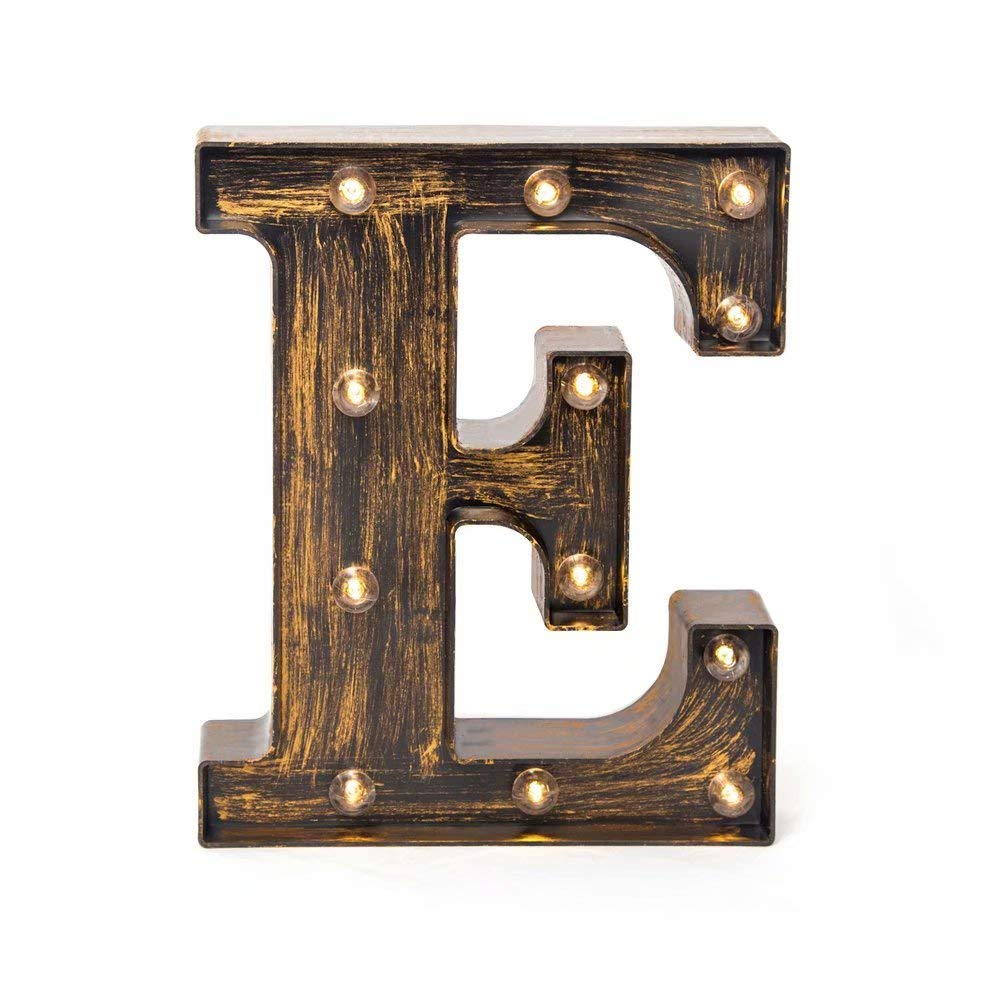 Glintee LED Marquee Letter Lights Vintage Style Light Up 26 Alphabet Letter Signs Night Lights for Wedding Birthday Party Christmas Home Bar Cafe Initials Decor (E)