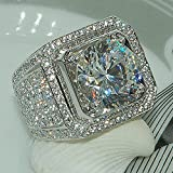Sumanee Women Elegant 925 Silver White Sapphire Wedding Ring Bridal Jewelry Size 6-10 (9)