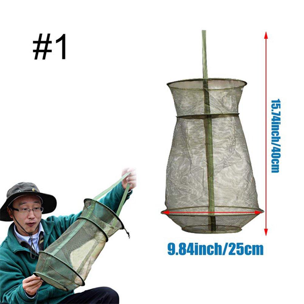 Espeedy Portable Filet de pêche en maille Ronde pliante Piège à structure en métal Moulage crevettes Cage en résille Outil de pêche