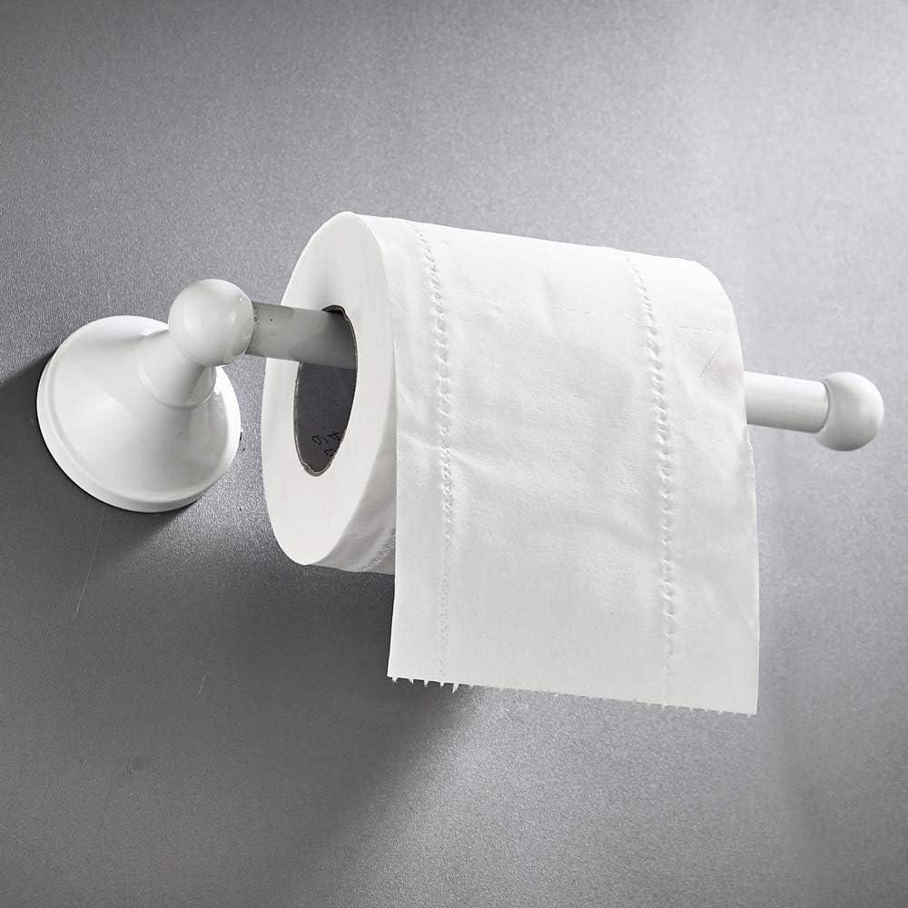 Soporte de Tejido de Rollo de lat/ón Blanco Moderno y Elegante Pintado para Colgar en la Pared WC WOMAO Soporte de Papel higi/énico Simple
